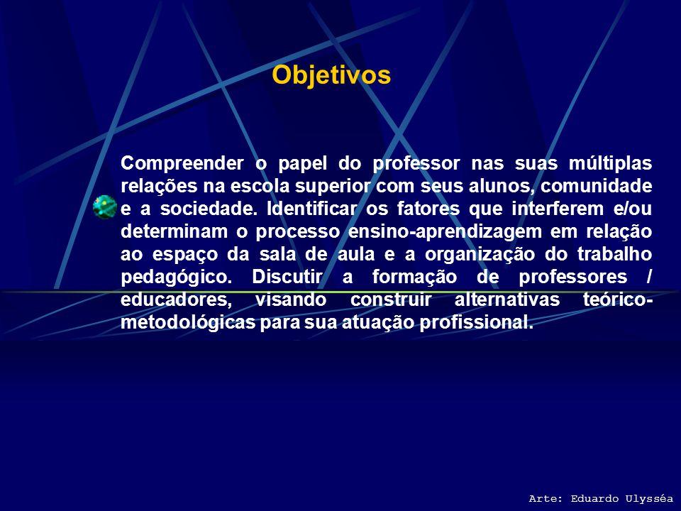 Ementa A profissionalização do professor do Ensino Superior da área tecnológica. A organização do trabalho pedagógico e sua gestão. A relação pedagógi