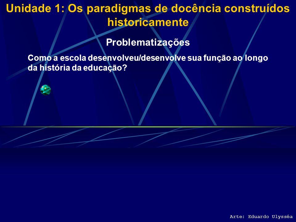 Unidade 1: Os paradigmas de docência construídos historicamente Arte: Eduardo Ulysséa Problematizações Como a escola desenvolveu/desenvolve sua função ao longo da história da educação?