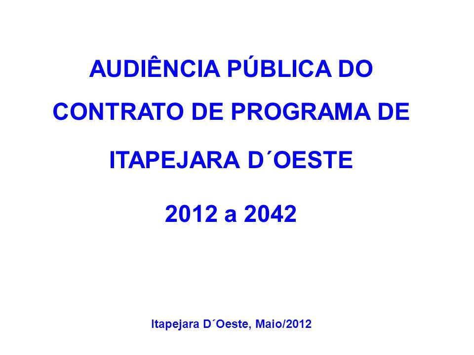 AUDIÊNCIA PÚBLICA DO CONTRATO DE PROGRAMA DE ITAPEJARA D´OESTE 2012 a 2042 Itapejara D´Oeste, Maio/2012