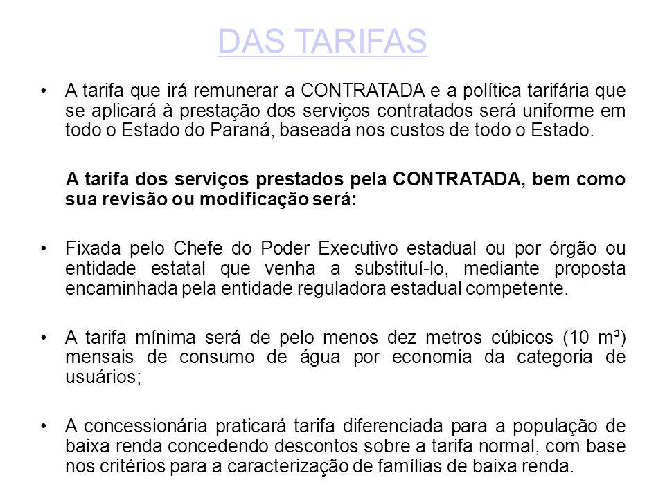 •A tarifa que irá remunerar a CONTRATADA e a política tarifária que se aplicará à prestação dos serviços contratados será uniforme em todo o Estado do Paraná, baseada nos custos de todo o Estado.