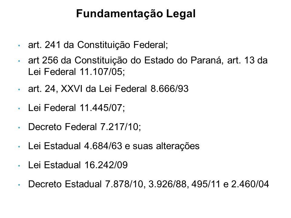 • art. 241 da Constituição Federal; • art 256 da Constituição do Estado do Paraná, art.