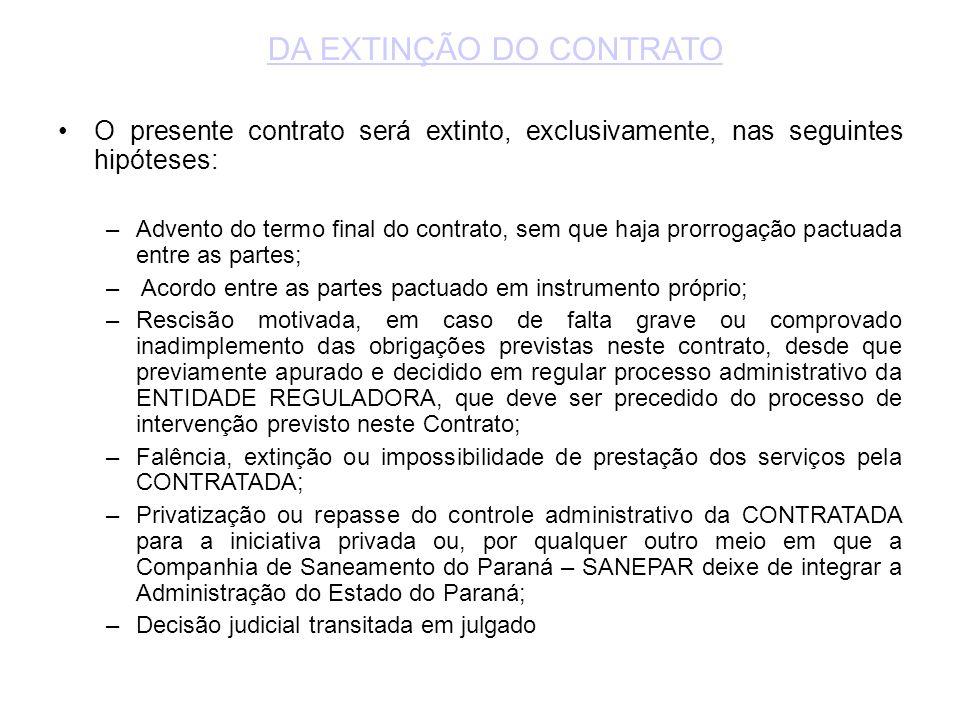 •O presente contrato será extinto, exclusivamente, nas seguintes hipóteses: –Advento do termo final do contrato, sem que haja prorrogação pactuada ent