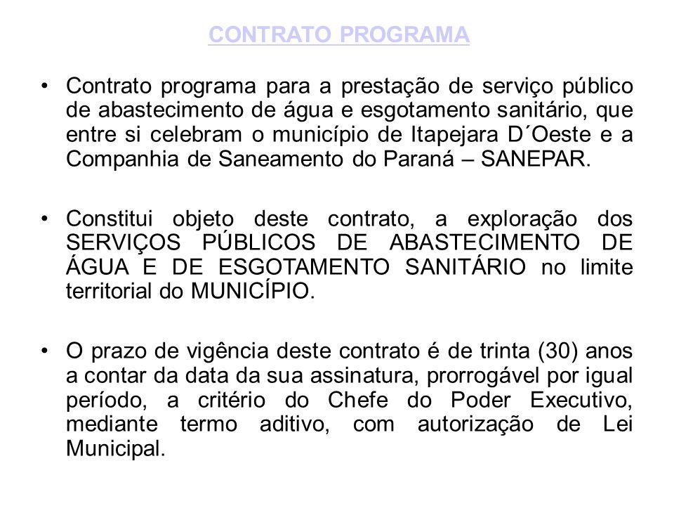 •Contrato programa para a prestação de serviço público de abastecimento de água e esgotamento sanitário, que entre si celebram o município de Itapejara D´Oeste e a Companhia de Saneamento do Paraná – SANEPAR.