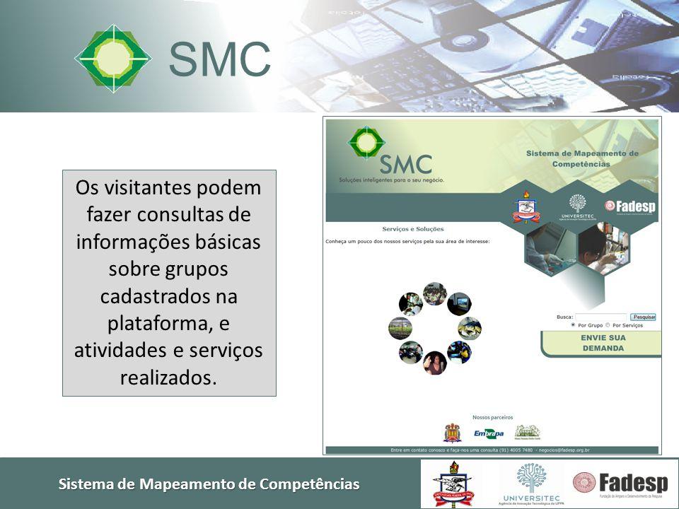 Sistema de Mapeamento de Competências SMC Os visitantes podem fazer consultas de informações básicas sobre grupos cadastrados na plataforma, e ativida