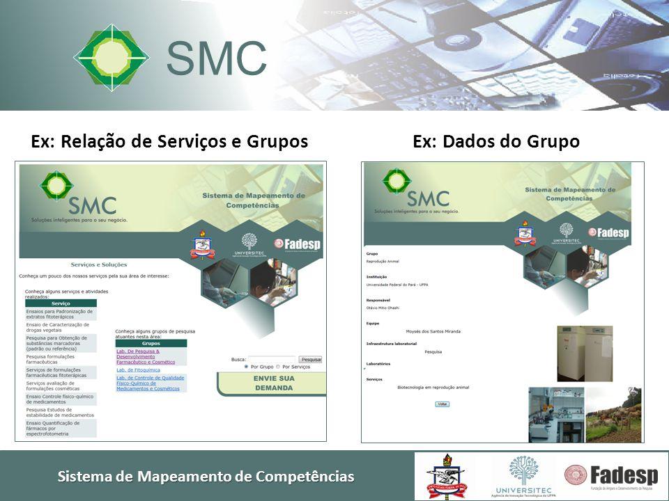Sistema de Mapeamento de Competências SMC Ex: Relação de Serviços e GruposEx: Dados do Grupo