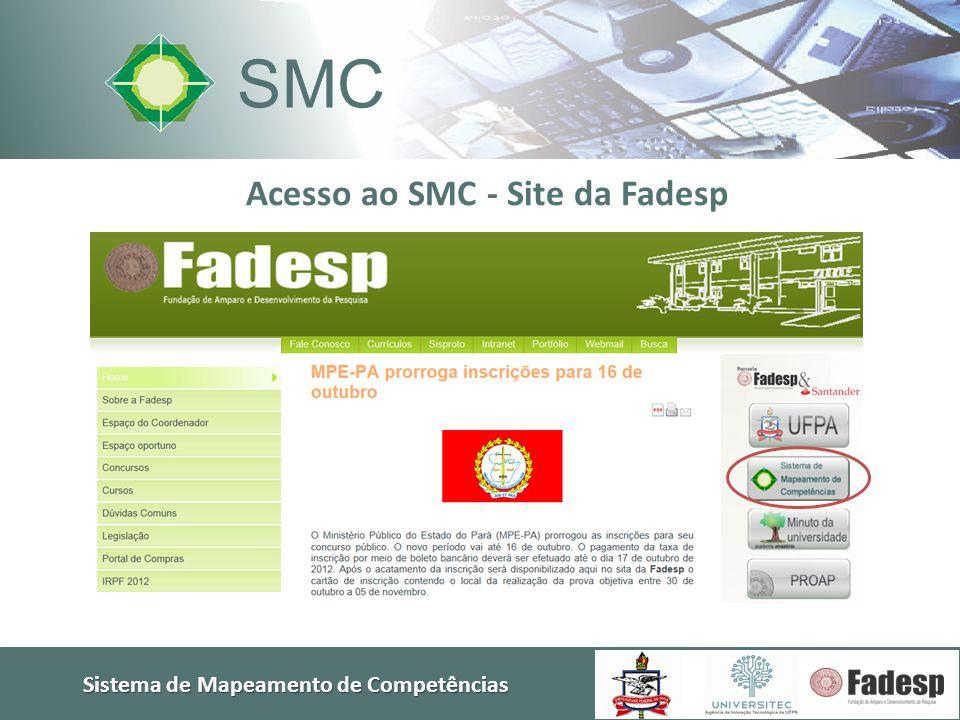 Sistema de Mapeamento de Competências SMC Nesta 1ª fase, o sistema já conta com telas de diálogo com o:  Pesquisador • Cadastro de grupos • Consultas  Empresário • Cadastro de serviços tecnológicos • Consultas • Envio de demandas