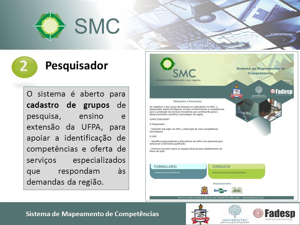 Sistema de Mapeamento de Competências SMC Pesquisador 2 O sistema é aberto para cadastro de grupos de pesquisa, ensino e extensão da UFPA, para apoiar