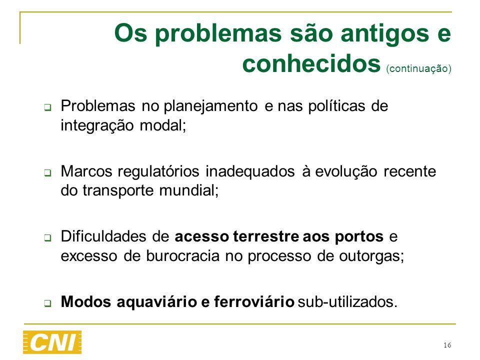 16 Os problemas são antigos e conhecidos (continuação)  Problemas no planejamento e nas políticas de integração modal;  Marcos regulatórios inadequa