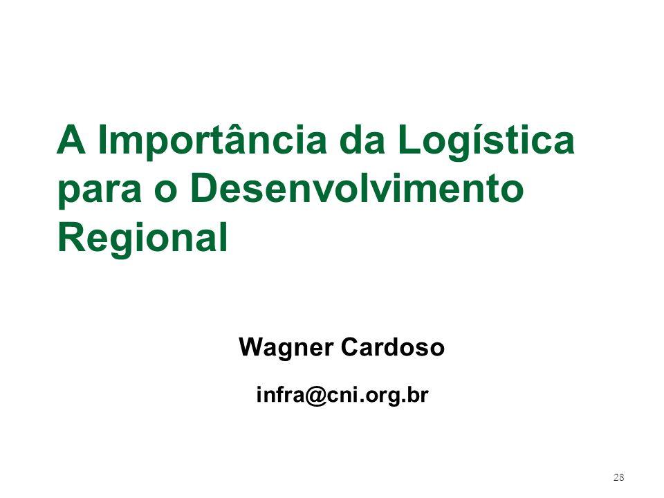 28 A Importância da Logística para o Desenvolvimento Regional Wagner Cardoso infra@cni.org.br