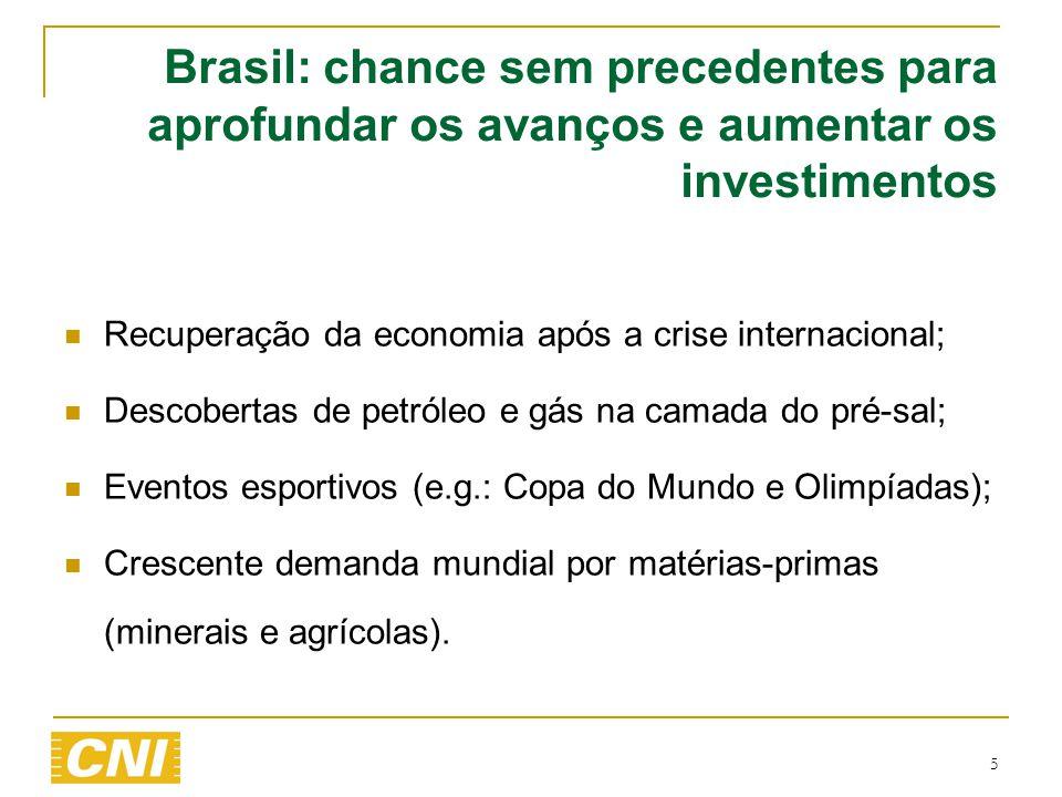 5 Brasil: chance sem precedentes para aprofundar os avanços e aumentar os investimentos  Recuperação da economia após a crise internacional;  Descob