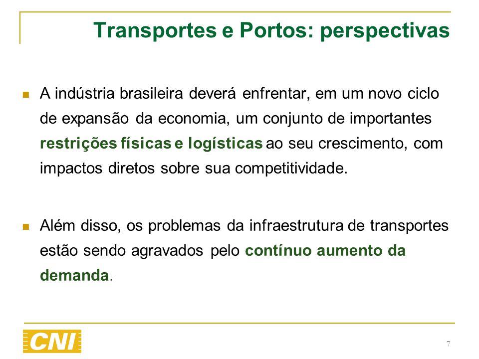 7 Transportes e Portos: perspectivas  A indústria brasileira deverá enfrentar, em um novo ciclo de expansão da economia, um conjunto de importantes r