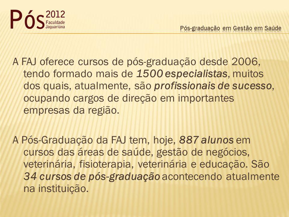 A FAJ oferece cursos de pós-graduação desde 2006, tendo formado mais de 1500 especialistas, muitos dos quais, atualmente, são profissionais de sucesso, ocupando cargos de direção em importantes empresas da região.