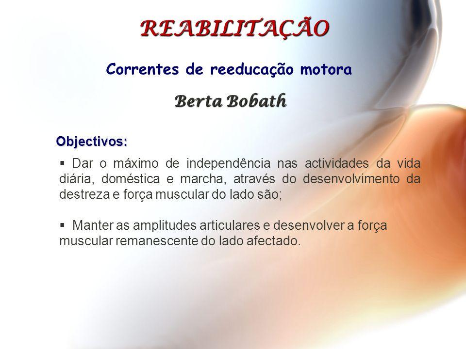 Correntes de reeducação motora Berta Bobath  Dar o máximo de independência nas actividades da vida diária, doméstica e marcha, através do desenvolvim