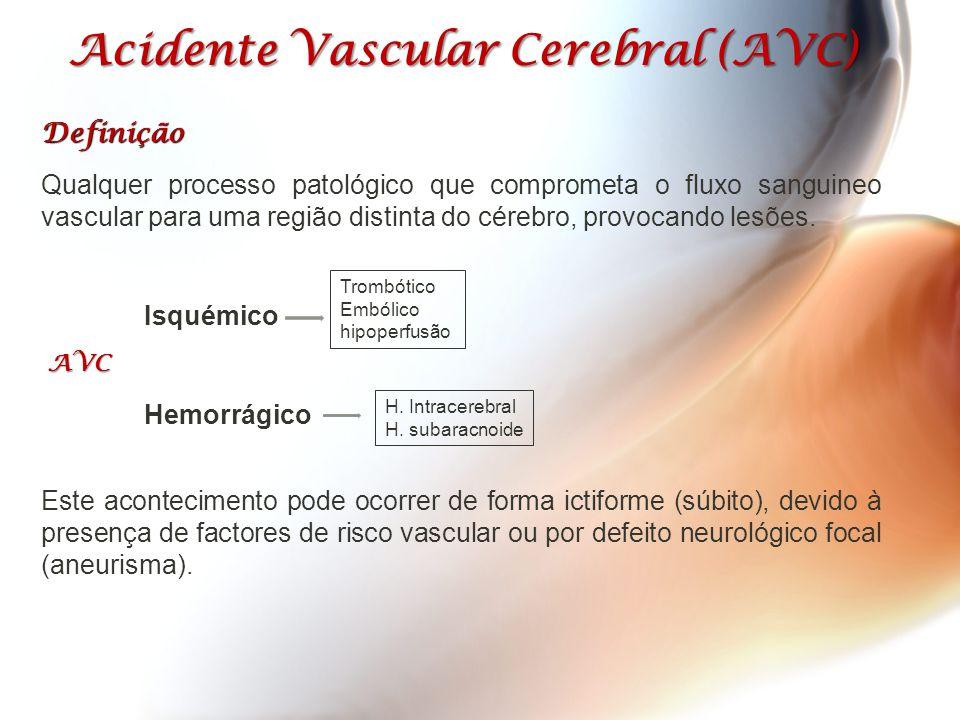 Acidente Vascular Cerebral (AVC) Definição Qualquer processo patológico que comprometa o fluxo sanguineo vascular para uma região distinta do cérebro,