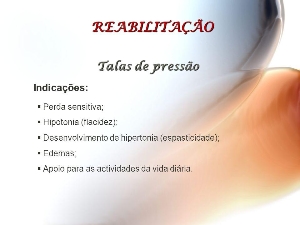  Perda sensitiva;  Hipotonia (flacidez);  Desenvolvimento de hipertonia (espasticidade);  Edemas;  Apoio para as actividades da vida diária. REAB