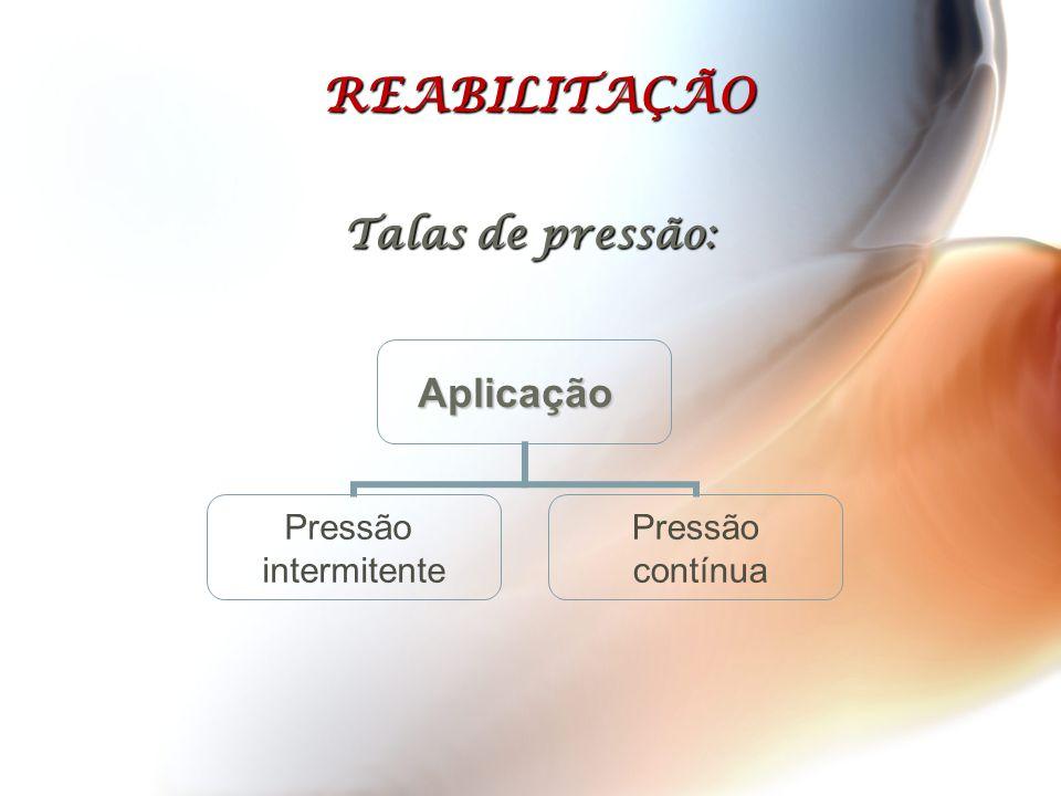 REABILITAÇÃO Talas de pressão: Aplicação Pressão intermitente Pressão contínua