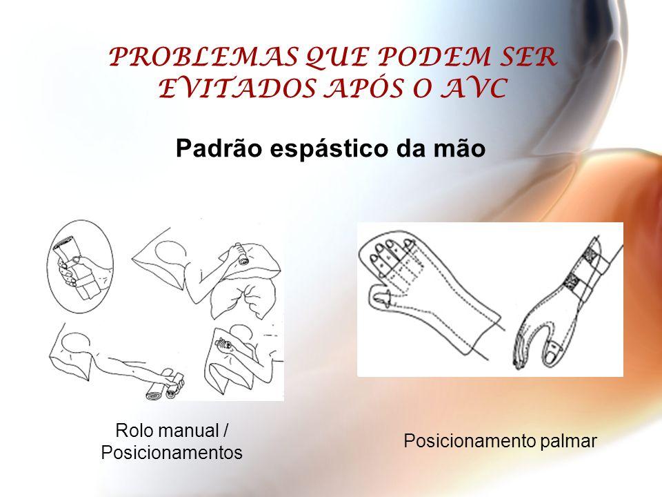 PROBLEMAS QUE PODEM SER EVITADOS APÓS O AVC Padrão espástico da mão Rolo manual / Posicionamentos Posicionamento palmar