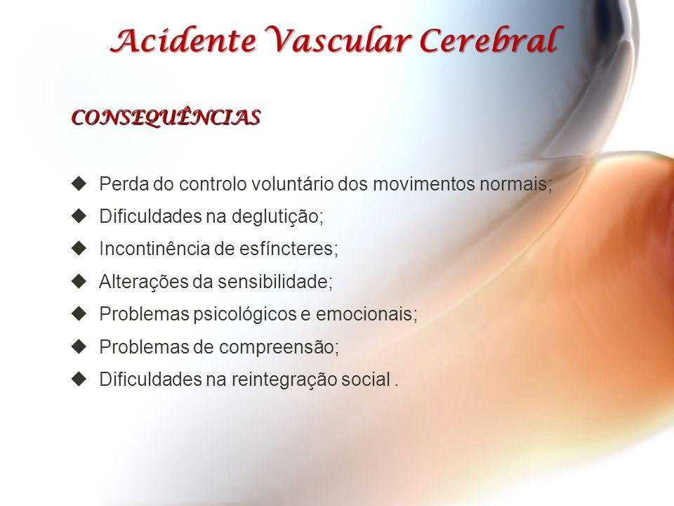 Acidente Vascular Cerebral Acidente Vascular Cerebral CONSEQUÊNCIAS  Perda do controlo voluntário dos movimentos normais;  Dificuldades na deglutiçã