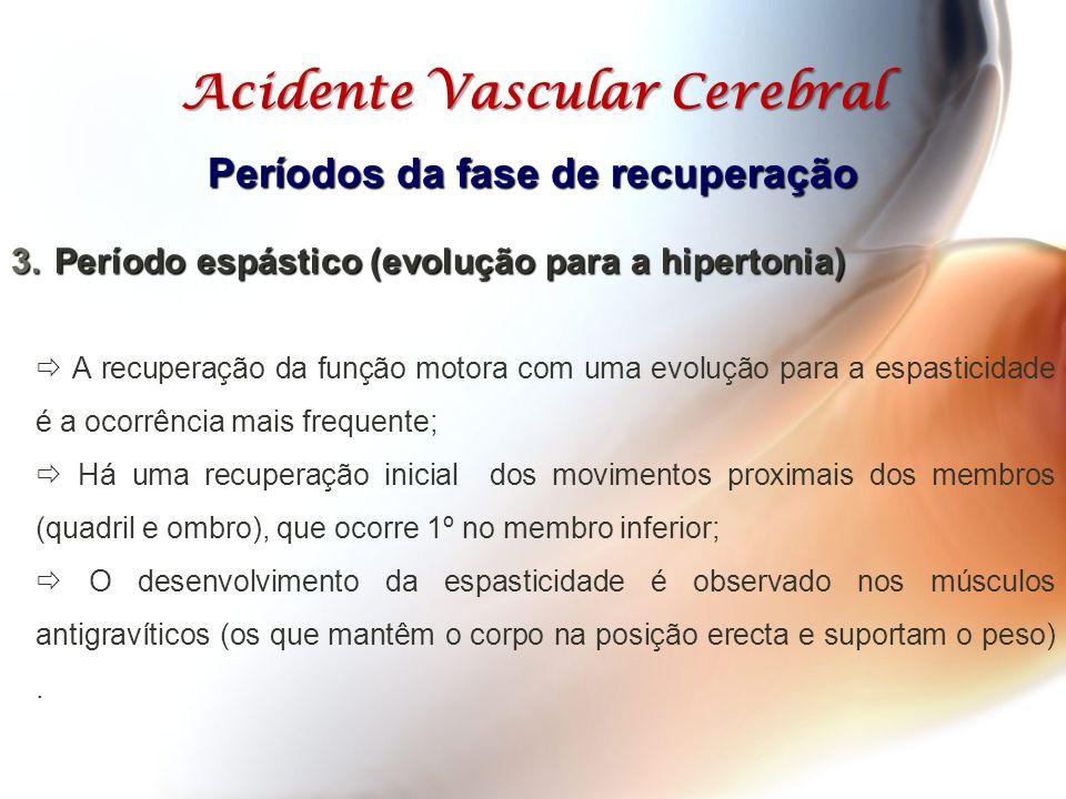 Acidente Vascular Cerebral Períodos da fase de recuperação  A recuperação da função motora com uma evolução para a espasticidade é a ocorrência mais