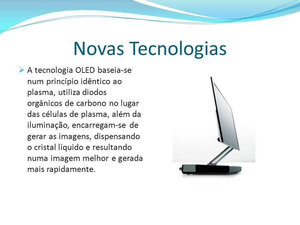 Novas Tecnologias  A tecnologia OLED baseia-se num princípio idêntico ao plasma, utiliza diodos orgânicos de carbono no lugar das células de plasma,