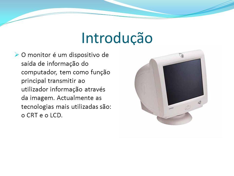 Introdução  O monitor é um dispositivo de saída de informação do computador, tem como função principal transmitir ao utilizador informação através da imagem.