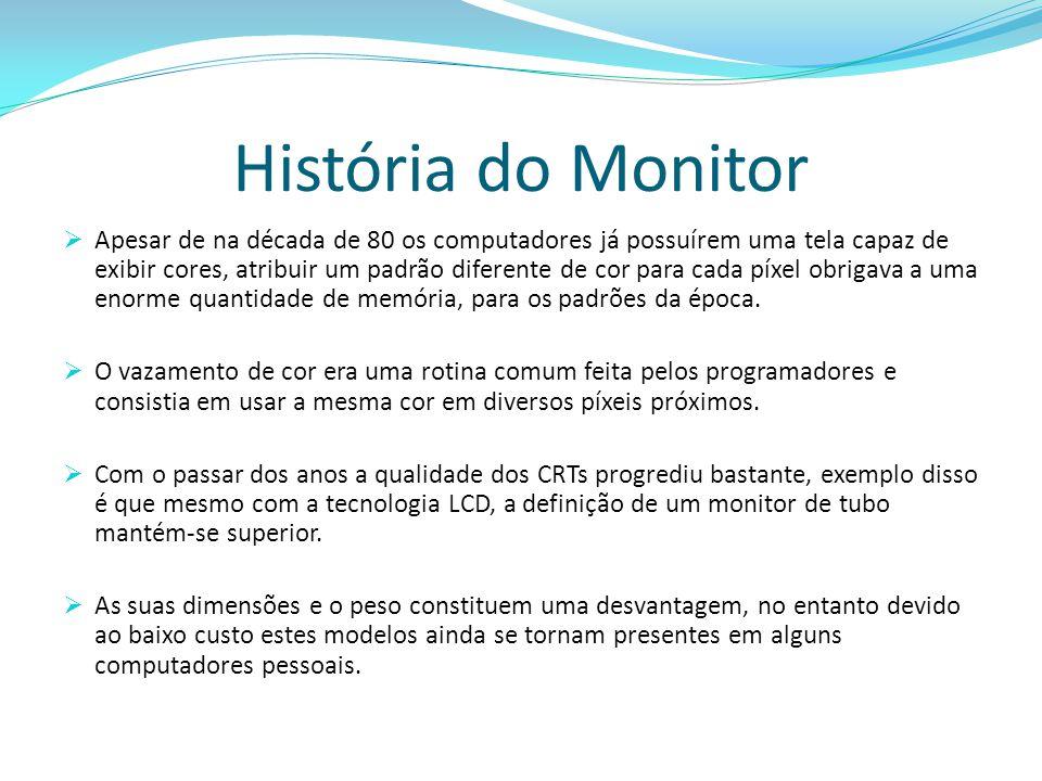 História do Monitor  Apesar de na década de 80 os computadores já possuírem uma tela capaz de exibir cores, atribuir um padrão diferente de cor para