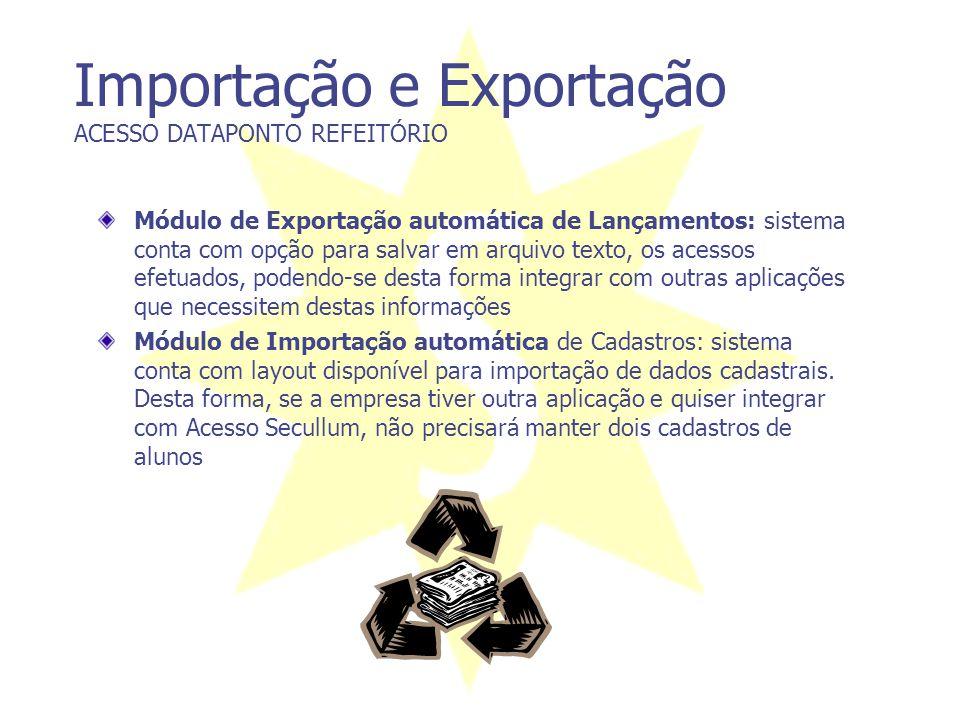 Importação e Exportação ACESSO DATAPONTO REFEITÓRIO Módulo de Exportação automática de Lançamentos: sistema conta com opção para salvar em arquivo tex