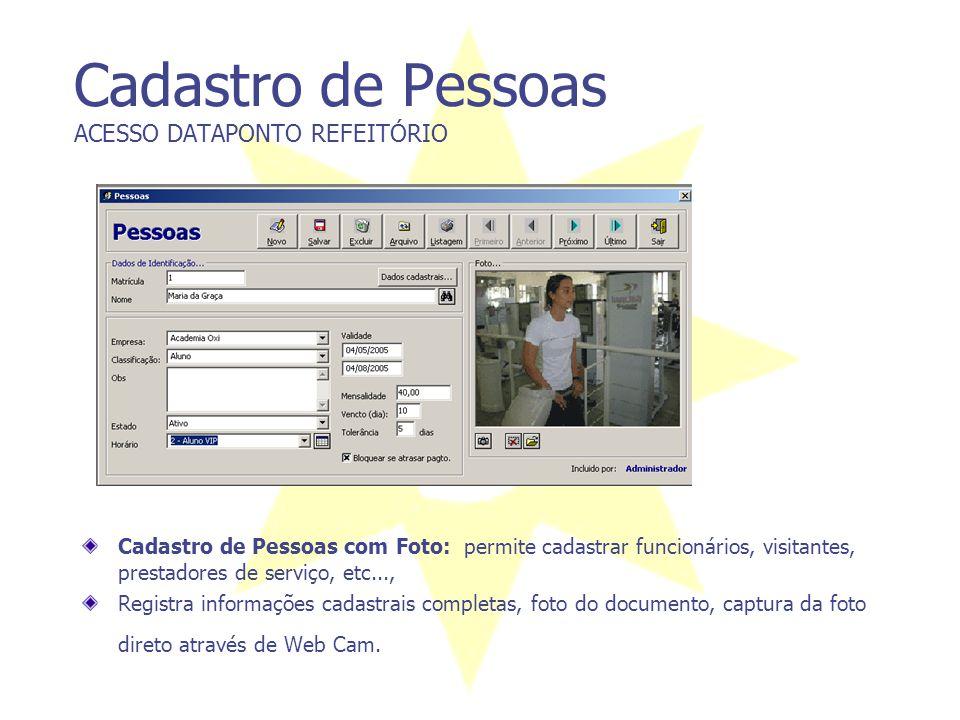 Cadastro de Pessoas ACESSO DATAPONTO REFEITÓRIO Cadastro de Pessoas com Foto: permite cadastrar funcionários, visitantes, prestadores de serviço, etc.