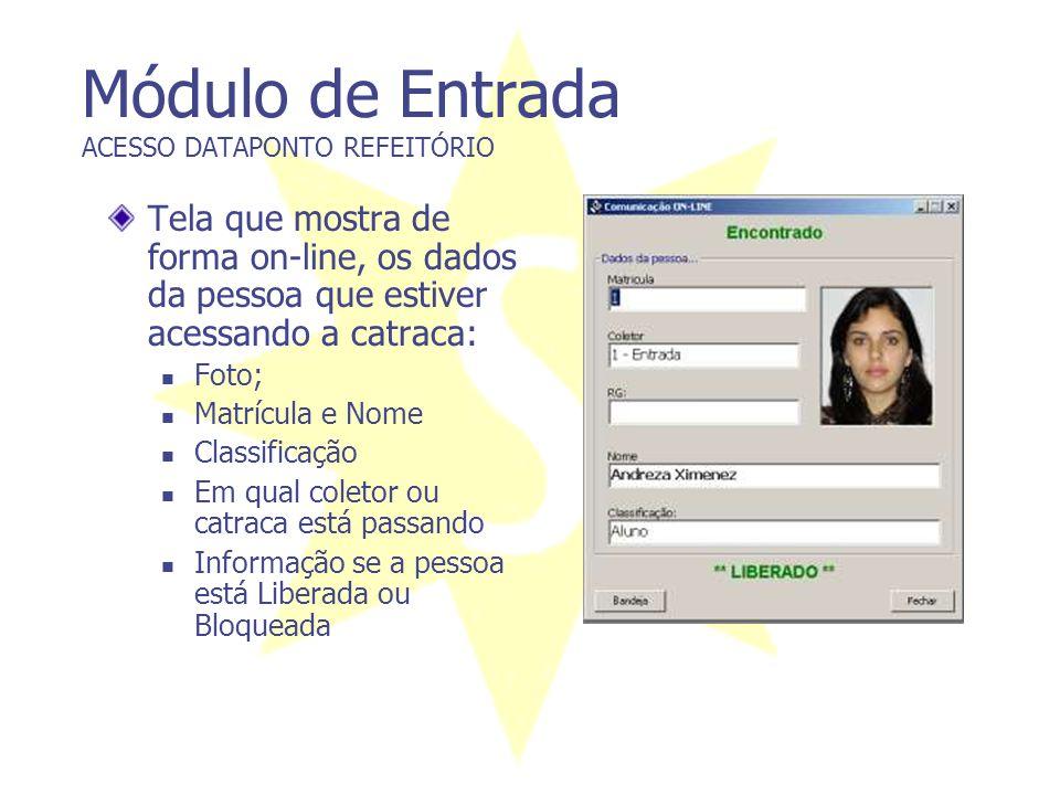 Módulo de Entrada ACESSO DATAPONTO REFEITÓRIO Tela que mostra de forma on-line, os dados da pessoa que estiver acessando a catraca:  Foto;  Matrícul