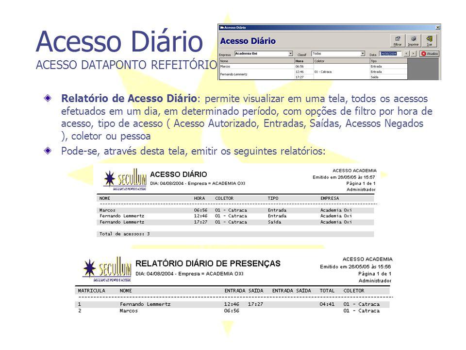 Acesso Diário ACESSO DATAPONTO REFEITÓRIO Relatório de Acesso Diário: permite visualizar em uma tela, todos os acessos efetuados em um dia, em determi