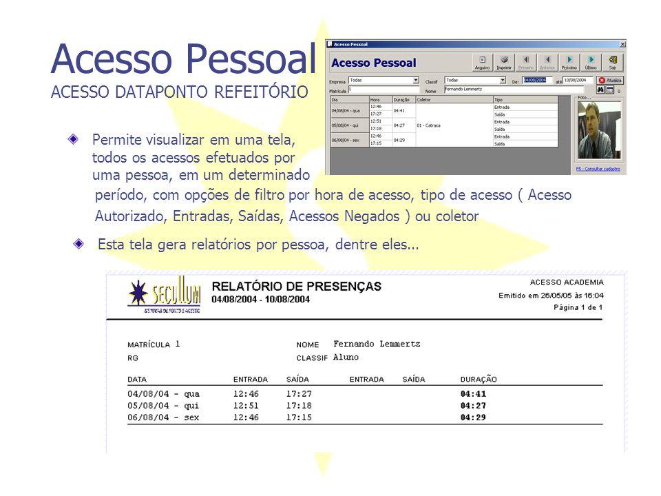 Acesso Pessoal ACESSO DATAPONTO REFEITÓRIO Permite visualizar em uma tela, todos os acessos efetuados por uma pessoa, em um determinado período, com o
