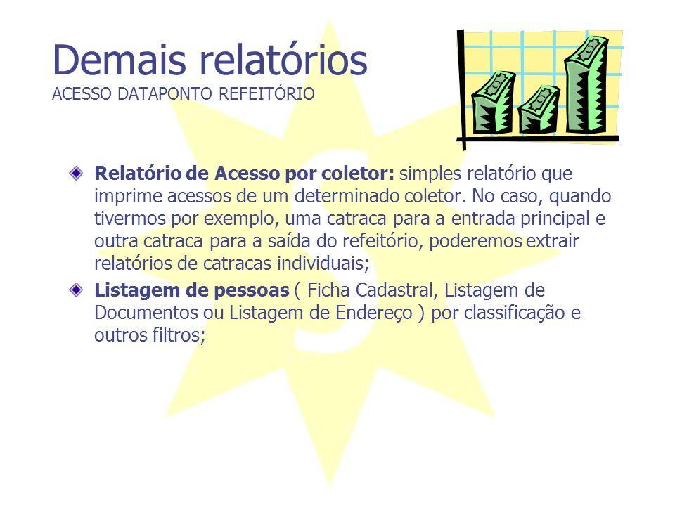 Demais relatórios ACESSO DATAPONTO REFEITÓRIO Relatório de Acesso por coletor: simples relatório que imprime acessos de um determinado coletor. No cas
