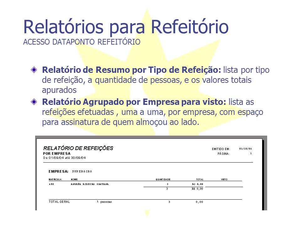 Relatórios para Refeitório ACESSO DATAPONTO REFEITÓRIO Relatório de Resumo por Tipo de Refeição: lista por tipo de refeição, a quantidade de pessoas,