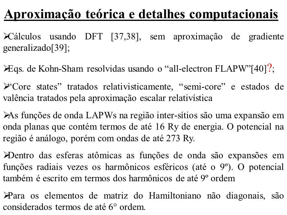 Aproximação teórica e detalhes computacionais  Cálculos usando DFT [37,38], sem aproximação de gradiente generalizado[39];  Eqs. de Kohn-Sham resolv