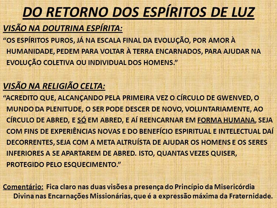 """DO RETORNO DOS ESPÍRITOS DE LUZ VISÃO NA DOUTRINA ESPÍRITA: """"OS ESPÍRITOS PUROS, JÁ NA ESCALA FINAL DA EVOLUÇÃO, POR AMOR À HUMANIDADE, PEDEM PARA VOL"""