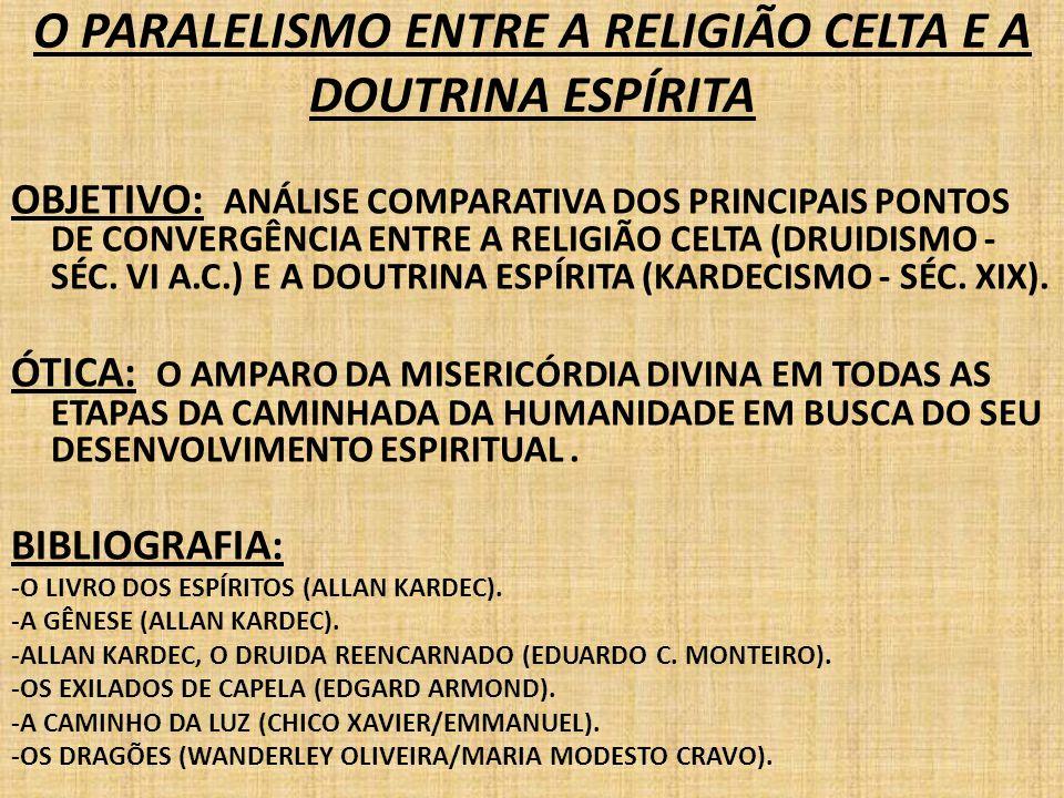 OBJETIVO: ANÁLISE COMPARATIVA DOS PRINCIPAIS PONTOS DE CONVERGÊNCIA ENTRE A RELIGIÃO CELTA (DRUIDISMO - SÉC. VI A.C.) E A DOUTRINA ESPÍRITA (KARDECISM