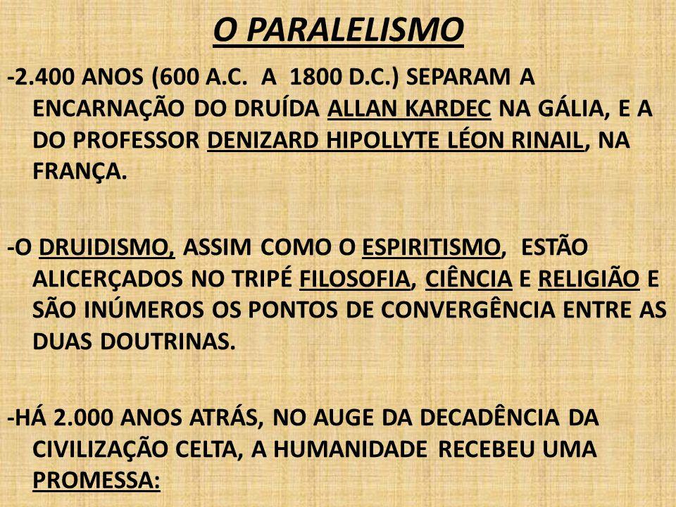 O PARALELISMO -2.400 ANOS (600 A.C. A 1800 D.C.) SEPARAM A ENCARNAÇÃO DO DRUÍDA ALLAN KARDEC NA GÁLIA, E A DO PROFESSOR DENIZARD HIPOLLYTE LÉON RINAIL
