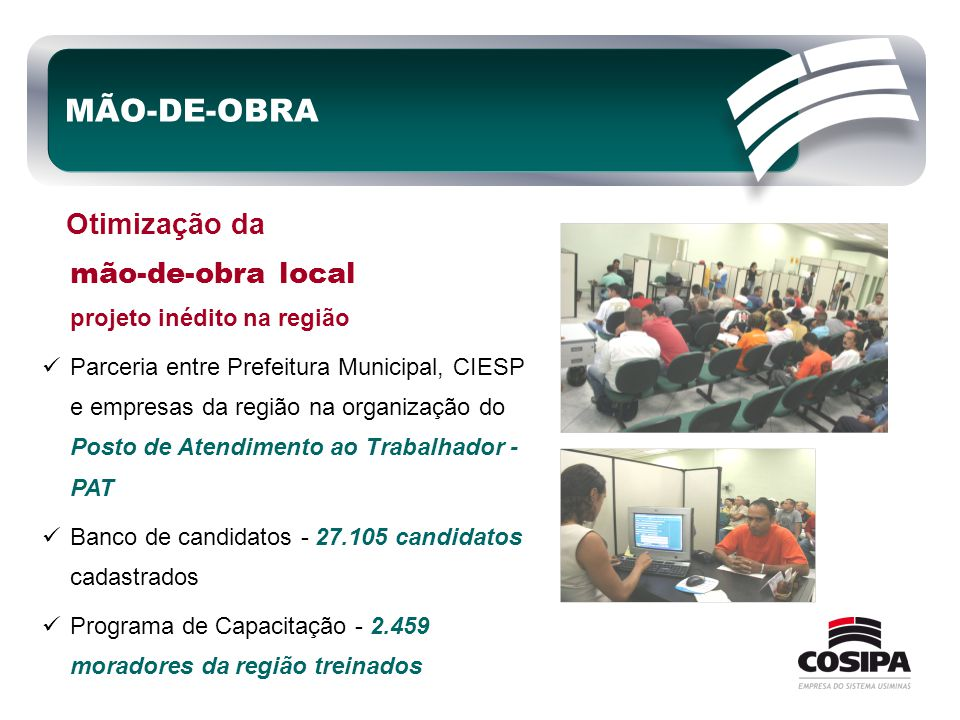 MÃO-DE-OBRA Otimização da mão-de-obra local projeto inédito na região  Parceria entre Prefeitura Municipal, CIESP e empresas da região na organização