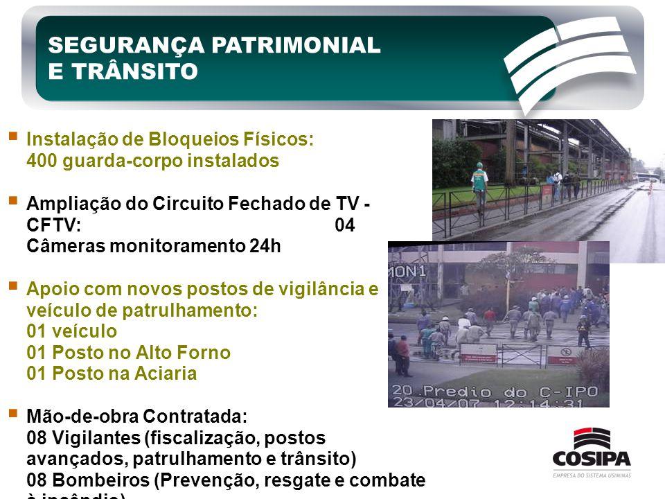 SEGURANÇA PATRIMONIAL E TRÂNSITO  Instalação de Bloqueios Físicos: 400 guarda-corpo instalados  Ampliação do Circuito Fechado de TV - CFTV: 04 Câmer