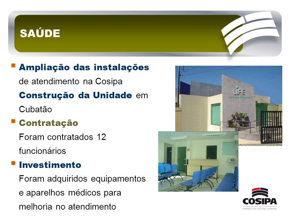 SAÚDE  Ampliação das instalações de atendimento na Cosipa Construção da Unidade em Cubatão  Contratação Foram contratados 12 funcionários  Investim