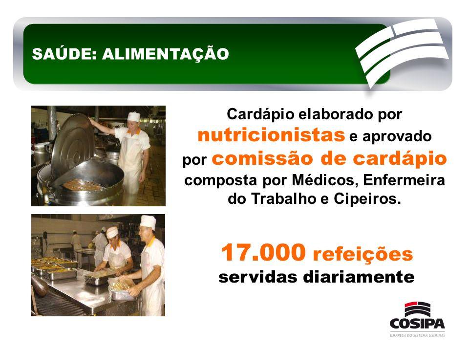 17.000 refeições servidas diariamente Cardápio elaborado por nutricionistas e aprovado por comissão de cardápio composta por Médicos, Enfermeira do Tr