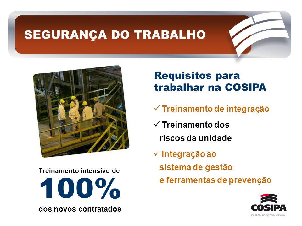 Treinamento intensivo de 100% dos novos contratados SEGURANÇA DO TRABALHO  Treinamento de integração  Treinamento dos riscos da unidade  Integração