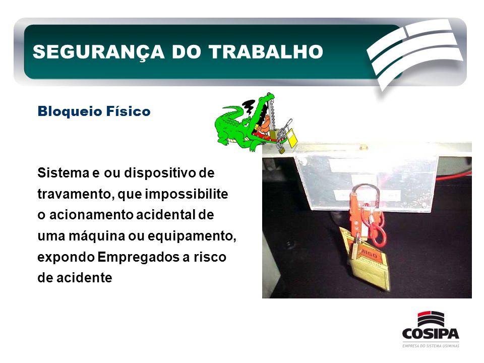 Sistema e ou dispositivo de travamento, que impossibilite o acionamento acidental de uma máquina ou equipamento, expondo Empregados a risco de acident