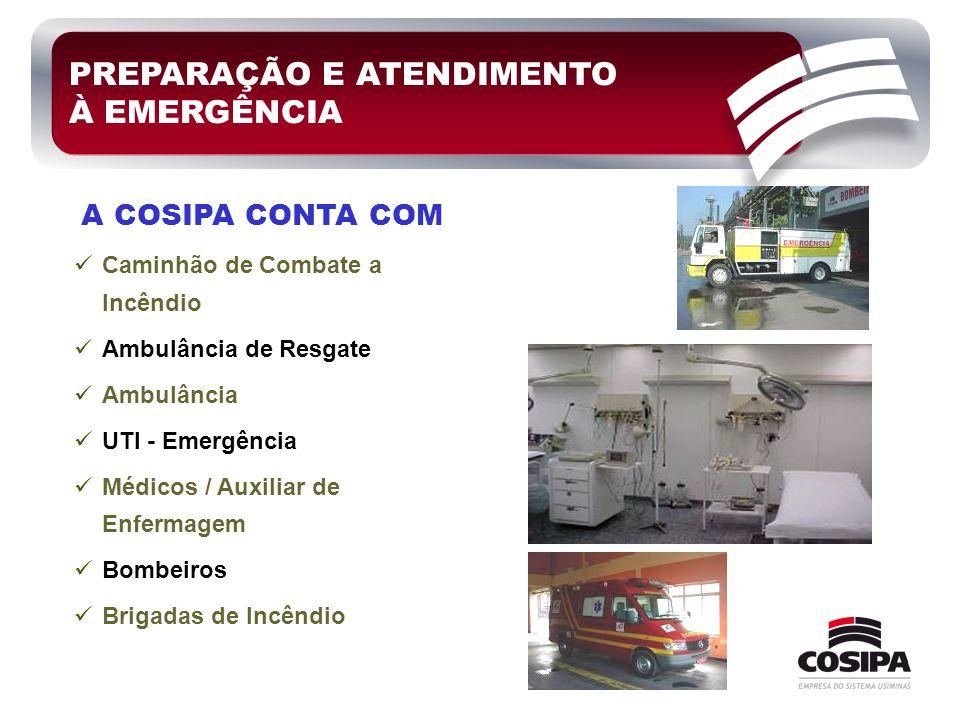 PREPARAÇÃO E ATENDIMENTO À EMERGÊNCIA  Caminhão de Combate a Incêndio  Ambulância de Resgate  Ambulância  UTI - Emergência  Médicos / Auxiliar de