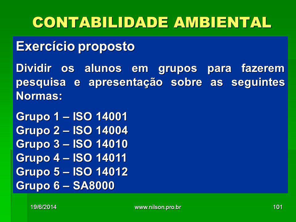CONTABILIDADE AMBIENTAL Exercício proposto Dividir os alunos em grupos para fazerem pesquisa e apresentação sobre as seguintes Normas: Grupo 1 – ISO 14001 Grupo 2 – ISO 14004 Grupo 3 – ISO 14010 Grupo 4 – ISO 14011 Grupo 5 – ISO 14012 Grupo 6 – SA8000 19/6/2014101www.nilson.pro.br