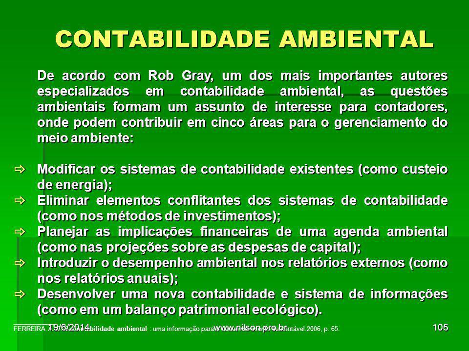 CONTABILIDADE AMBIENTAL De acordo com Rob Gray, um dos mais importantes autores especializados em contabilidade ambiental, as questões ambientais form