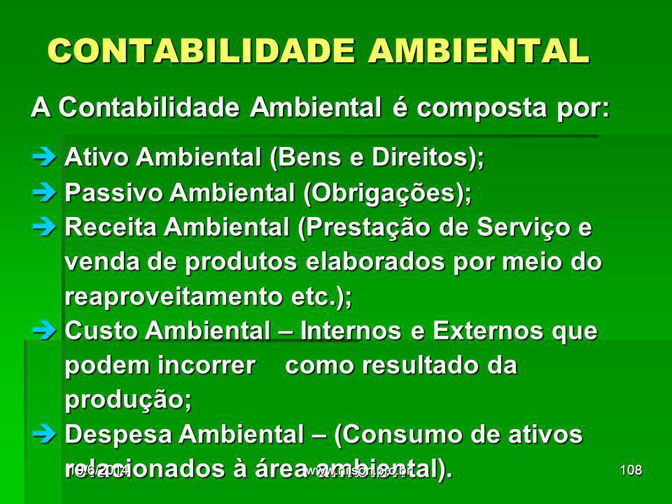 CONTABILIDADE AMBIENTAL A Contabilidade Ambiental é composta por:  Ativo Ambiental (Bens e Direitos);  Passivo Ambiental (Obrigações);  Receita Ambiental (Prestação de Serviço e venda de produtos elaborados por meio do reaproveitamento etc.);  Custo Ambiental – Internos e Externos que podem incorrer como resultado da produção;  Despesa Ambiental – (Consumo de ativos relacionados à área ambiental).