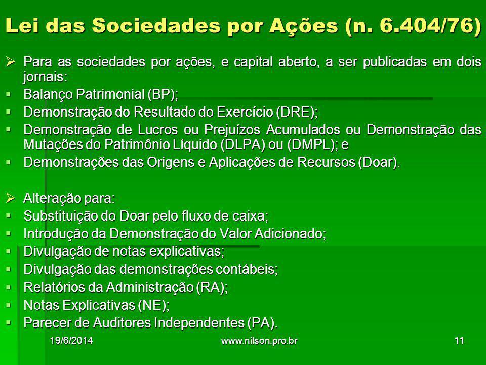 Lei das Sociedades por Ações (n. 6.404/76)  Para as sociedades por ações, e capital aberto, a ser publicadas em dois jornais:  Balanço Patrimonial (
