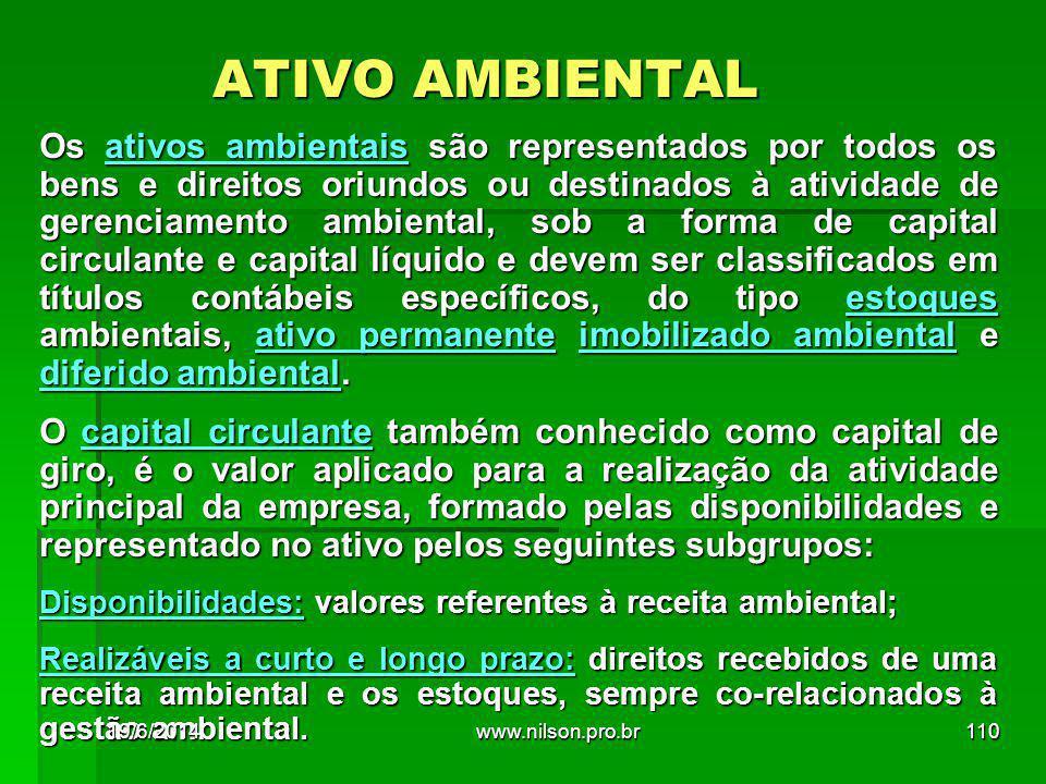 ATIVO AMBIENTAL Os ativos ambientais são representados por todos os bens e direitos oriundos ou destinados à atividade de gerenciamento ambiental, sob