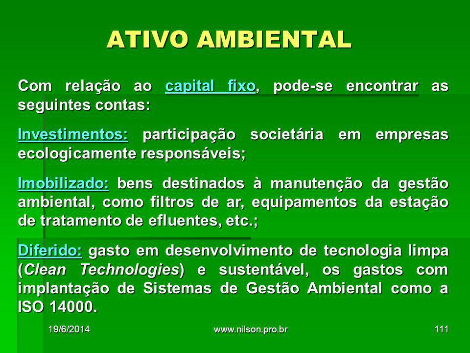ATIVO AMBIENTAL Com relação ao capital fixo, pode-se encontrar as seguintes contas: Investimentos: participação societária em empresas ecologicamente responsáveis; Imobilizado: bens destinados à manutenção da gestão ambiental, como filtros de ar, equipamentos da estação de tratamento de efluentes, etc.; Diferido: gasto em desenvolvimento de tecnologia limpa (Clean Technologies) e sustentável, os gastos com implantação de Sistemas de Gestão Ambiental como a ISO 14000.